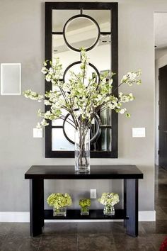 Mirror as a decor at home. This is a very common type of decorating a room with mirrors to be your entrance hall. The mirror also helps give more sense of space and brings more brightness to your home.
