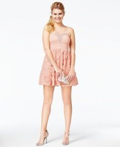 Trixxi Juniors' Jeweled Soutache Strapless Dress - Pink 11