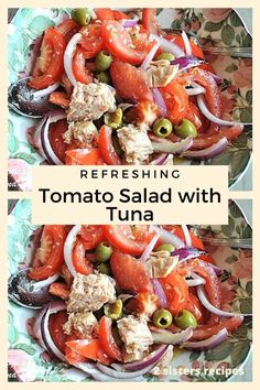 Refreshing Tomato Salad with Tuna - 2 Sisters Recipes by Anna and Liz Good Healthy Recipes, Healthy Foods To Eat, Diet Recipes, Healthy Eating, Healthy Rice, Sushi Recipes, Diet Foods, Seafood Recipes, Olives
