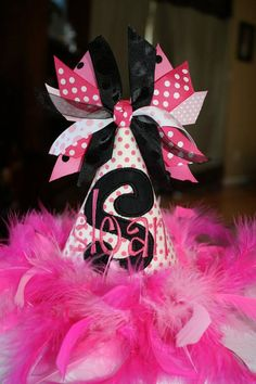 Birthday Party Hat Hot Pink and Black with Feathers, Ribbon