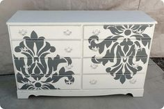 Shabby Take On Damask Dresser  I need to redo my dresser and night stand...this is a good idea!