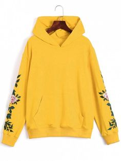 Casual hoodie features a delicate flower embroidered patchwork design at the sleeves and a big kangaroo pocket detail at front. Teen Winter Outfits, Outfits For Teens, Fall Outfits, Top Halloween Costumes, Halloween Tops, Cute Sweatshirts, Hoodies, Yellow Hoodie, Sweatshirt Outfit