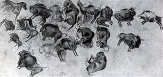4. Живописные изображения на потолке Альтамирской пещеры (Испания, провинция Сантандер). Общий вид. Верхний палеолит, Мадленское время.
