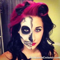 half face skull makeup for Halloween » Halloween Costumes 2013