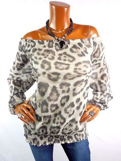 33577fe31b5ffe INC Womens Top 2X Spring Shirt SEXY Off Shoulder Animal Print Casual Long  Sl  INCInternationalConcepts  Blouse  Casual