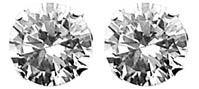 CZ Stud Silver Earrings - 9mm