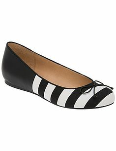 Adorable striped ballet slipper offers the look of a flat and a little added lift with a hidden wedge heel! Simply detailed with a bow accent, it's a cute and comfy finish to dressy and casual looks.  In comfortable widths with a non-slip sole. lanebryant.com
