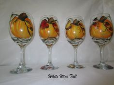 Pumpkin and Fall Leaves Hand Painted Wine Glasses-Set of 4. $50.00, via Etsy.