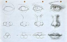 Augen, Mund und Nase zeichnen lernen. Schauen Sie diese Anleitung an. Die ist sehr nützlich für Anfänger.