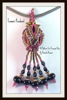 Beading Pattern Temari Ball Bead Woven Pendant tutorial instructions via Etsy