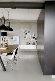 Warehouse Apartment, Kitchen Nook, Kitchen Interior, Man Cave, New Homes, Loft, Dining Table, Contemporary, Interior Design