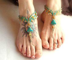 Boho+Barefoot+Sandals+Turquoise+Citrine+by+MoJosFreeSpirit+on+Etsy,+$40.00