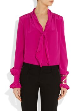 Fuchsia silk crepe de chine  Padded shoulders, ruched yoke hem, pussy-bow ties, ruffled buttoned cuffs  Slips on  100% silk  Dry clean
