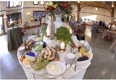 Event Food Stations- weddings, fruit & cheese table- I LOVE LOVE LOVE the idea of having Food Stations placed through-out the reception, as opposed to a sit down dinner- you can spend your money more efficiently