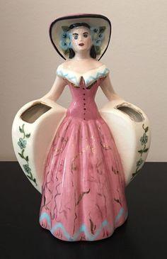 Vintage Southern Belle Figurine Heart Planter