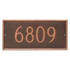 Montague Metal Washington Rectangle Address Sign Wall Plaque - PCS-0076S1-W-BRS