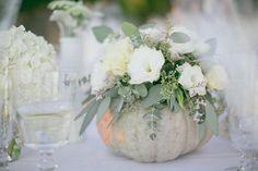 DIY Pumpkin Vase Centerpieces to Spruce Up Your Fall Wedding White Pumpkin Centerpieces, Pumpkin Arrangements, Pumpkin Vase, Pumpkin Flower, Vase Centerpieces, Floral Arrangements, White Pumpkin Decor, Diy Pumpkin, Cinderella Pumpkin