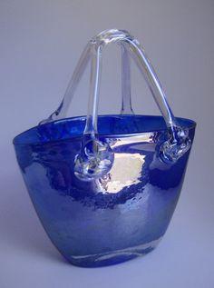 Vintage Italian Cobalt Blue Vases   Cobalt blue irdescent hand-blown art glass art deco purse vase decor