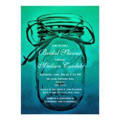 Green Blue Ombre Fade Mason Jar Bridal Shower Invitations