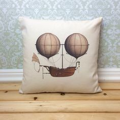 Steampunk Pillow Cover with optional insert, Steampunk Airship, Steampunk Decor Steampunk Home Decor, Arte Steampunk, Steampunk Airship, Steampunk House, Steampunk Clothing, Steampunk Fashion, Homemade Home Decor, Printing On Burlap, Cafe Style