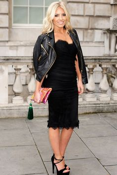 At a summer party, Mollie King shoulder robed a luxe leather jacket over a pretty strapless cocktail dress but it's not our favourite look on The Saturdays' star – and she's a serial Shoulder Rober as you'll soon see…