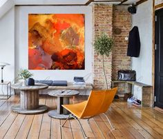 Large Abstract Painting ''Boiling Lava'' Earth di JuliaApostolova