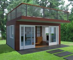 This backyard office has two sliding glass doors at the front and two sets of sliding glass windows on the sides that open allowing the office to be part of the garden. One can work inside while feeling like one is outside. There is a rear door and exterior stairs to a roof deck for relaxation or work. The design intends to limit the distinction between the interior office and the exterior garden. It is a free standing structure wood framed with wood siding and polished cement board or…
