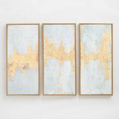 Fluent in Golds Triptych by Elinor Luna Wall Art Set of 3 by World Market