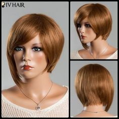 Women's Short Refreshing Side Bang Siv Human Hair Wig #>=#>=#>=#>=#> Click on the pin to check out discount price, color, size, shipping, etc. Save and like it!