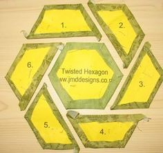 JMD Designs Tutorial- English Paper Piecing - Twisthed Hexagon with Hand Quilting I could convert this to cut on the Accuquilt cutter with my hex die and cut with rotary cutter. Mug Rug Patterns, Quilt Block Patterns, Quilt Blocks, Potholder Patterns, Quilting Tips, Quilting Tutorials, Hand Quilting, Hexagon Pattern, Hexagon Patchwork