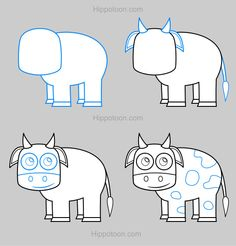 how to draw a cute cow step by step