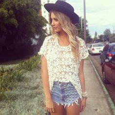 hat + lace shirt + shorts = perfection
