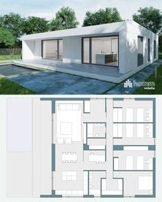 Modern Bungalow House, Bungalow House Plans, Modern Tiny House, Small House Design, Dream House Plans, Modern House Plans, Small House Plans, Modern House Design, Flat Roof House