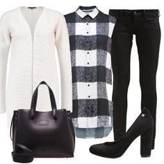 Questo outfit è caratterizzato dal classico abbinamento bianco e nero reso più attuale e moderno dalla camicia senza maniche a quadri. Sopra il tutto consiglio un cappottino nero dal taglio classico.
