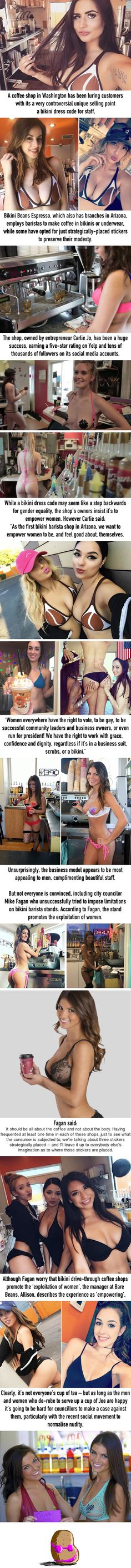 Baristas serve drinks wearing just bikini bottoms and NIPPLE PASTIES (and their female boss claims it's 'empowering')