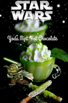 With the new Starwars coming out I thought a great drink would be a Yoda Mint Hot chocolate. For this you will need: 4 cups of milk or half n half 1 cup of white chocolate chips 1 tsp peppermint extract drops of green food coloring cup sugar for rims of … Non Alcoholic Drinks, Fun Drinks, Yummy Drinks, Beverages, Sonic Drinks, Disney Drinks, Milk Shakes, Star Wars Essen, Star Wars Food