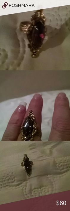 Older amethyst gothic style large Purple large stone Jewelry Rings