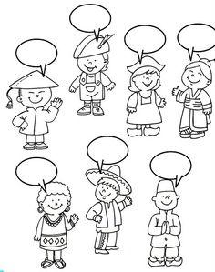 Pour illustrer un carnet de voyage, mettre des bulles à des personnages dans leur langue d'origine
