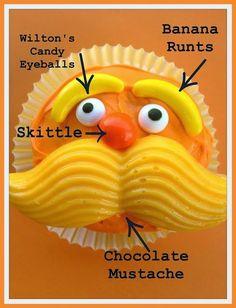 Planning a Lorax Birthday Party.  Lorax cupcakes.  Lorax birthday theme