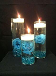 wedding blue candle centerpieces s7QIt2Ujb