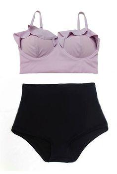 Lavender Purple Top and Black Highwaist Highwaisted by venderstore, $39.99