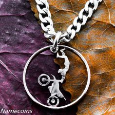 Motocross jewelry, Dirtbike necklace, Hand cut quarter – NameCoins