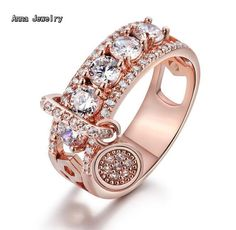 [Visit to Buy] New Elegant Style Dazzling Stones Ring,Stainless Steel Metal in Pink Gold Color,Never Change Color.Women Fashion Zircons Ring #Advertisement