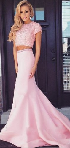 efec7c285 Pearl Beaded Short Sleeves Long Pink 2 Piece Prom Dresses Mermaid Prom  Dresses 2016 Two Pieces Prom Dress Graduation Dresses