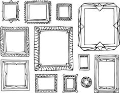 Picture Frame Illustrations by gunnessk on Creative Market Picture Borders, Zentangle, Doodle Frames, Picture Frame Decor, Wall Drawing, White Prints, Book Projects, Pictures To Draw, Colorful Pictures