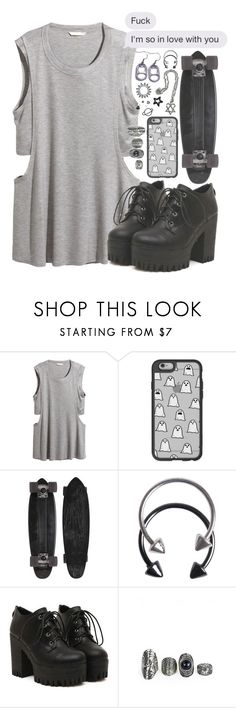 """I'm so in love with you/ Black&Grey ☑️"" by drunk-inlove ❤ liked on Polyvore featuring H&M, Casetify, GoldCoast and Pieces"