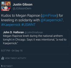Kudos to Megan Rapinoe for kneeling in solidarity with Colin Kaepernick. #Kaepernick #USWNT #MeganRapinoe #ColinKaepernick