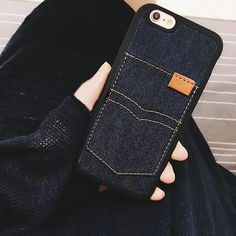 TPU material, you can insert Card or pocket money in the case. This case is for iPhone 7, 7 Plus, 6, 6S Plus, SE and 5S.  Product Feature: 1. Fashion Jeans Pattern 2. Can insert Card or pocket money