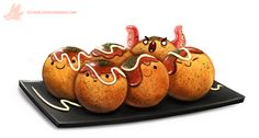 Daily Paint #1049. Takoyaki by Cryptid-Creations Time-lapse, high-res and WIP sketches of my art available on Patreon (: