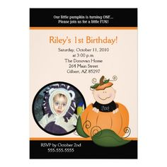 Little Pumpkin Halloween 5x7 Photo Birthday Invites Invitations 1st